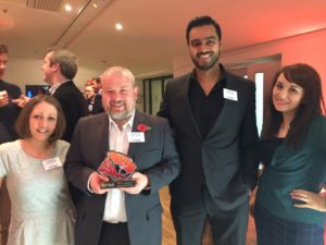 CEO James Carroll with the Creative England team at the TIGA awards